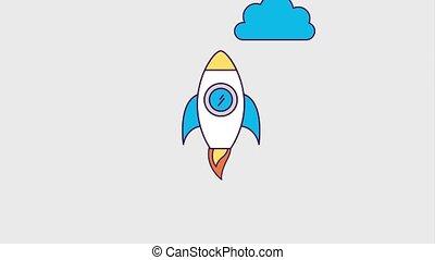 fusée, démarrage, lancement, reussite