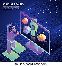 fusée, espace, écran, vr, lunettes protectrices, planètes, utilisation, homme