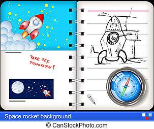 fusée, espace, arrière-plan.