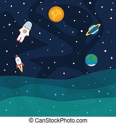fusée, espace, astronaute, étoiles, planètes, bateau