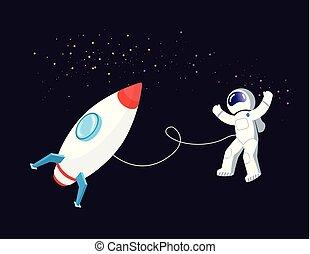 fusée, espace, flotter, astronaute, bateau, cosmos