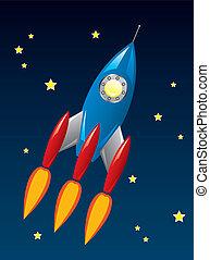 fusée, espace, stylisé, vecteur, retro, bateau