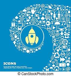 fusée, icône, ., gentil, ensemble, de, beau, icônes, tordu, spirale, dans, les, centre, de, une, grand, icon., vecteur