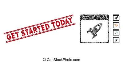 fusée, mosaïque, watermark, aujourd'hui, page, started, grunge, obtenir, calendrier, lignes