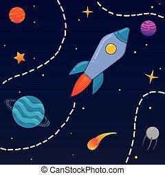fusée, planètes, étoiles, espace, dessin animé