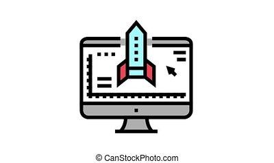 fusée, programme, icône, animation, couleur ordinateur, modelage