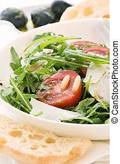 fusée, salade, à, tomate, et, pecorino
