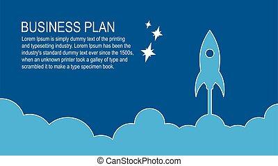 fusée, sky., voler, illustration espace, vecteur