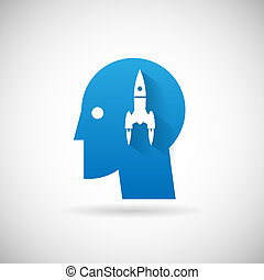 fusée, symbole, haut, illustration, début, vecteur, conception, gabarit, icône