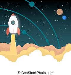 fusée, va, espace
