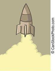 fusée, vecteur, dessin animé, illustration, lancement