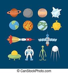 fusée, vecteur, planètes, astronaute, espace, illustrator., heroes:, icons., ovnis, dessin animé, system., ensemble, satellite., étranger, solaire