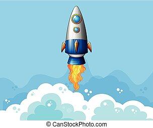 fusée, voler, dans, les, ciel