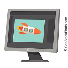 fusée, voler, dehors, de, ordinateur portable, écran, vecteur, cartoon.