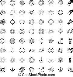 fusées, feux artifice, vecteur, ensemble, icônes