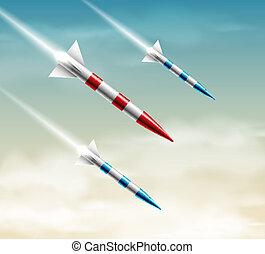 fusées, trois