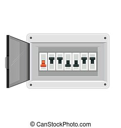 Fuse board box. Electrical power switch panel. Electricity ...