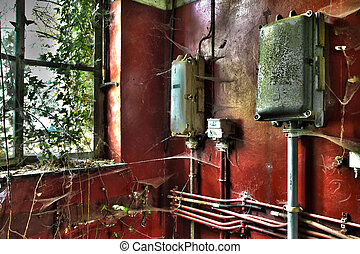 Fuse boxes in abandoned house