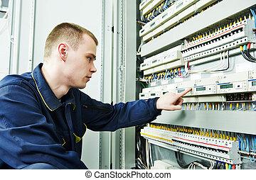 fuseboard, frente, inspetor, eletricista, engenheiro