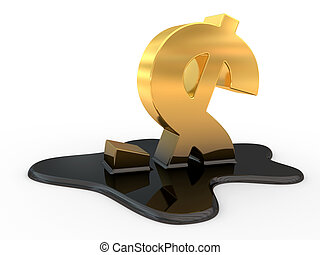fused dollar sign and oil. 3d illustration on a white...