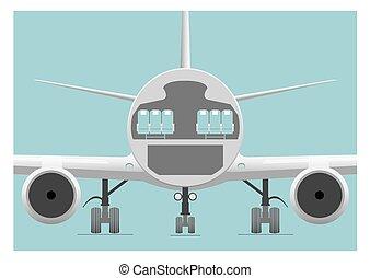 Fuselage cross section. Vector illustration. EPS 10, opacity...