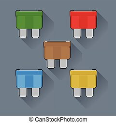 Fuses - fuse in the car in a flat design, set of
