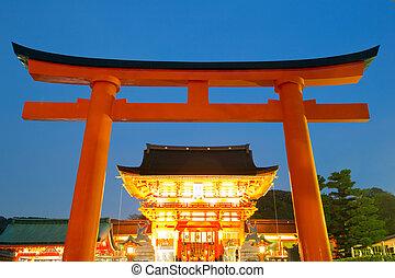 Fushimi Inari Shrine at dusk Kyoto Japan
