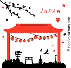 Fushimi Inari Taisha Shrine in Kyoto, Japan Vector