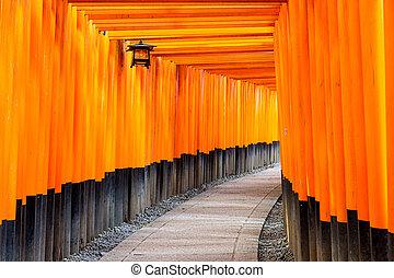 Fushimi Inari Temple in Kyoto, Japan - Fushimi Inari torii...
