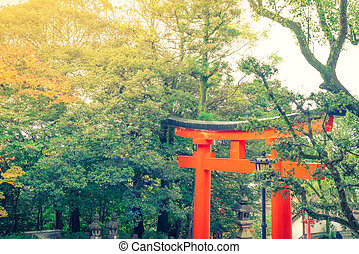 Fushimiinari Taisha Shrine Temple in Kyoto, Japan ( Filtered image processed vintage effect. )