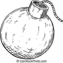 fusible, caricatura, dibujo, o, vector, bomba, medieval
