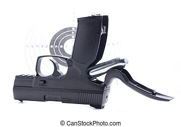 fusil, air, noir, comprimé, reload