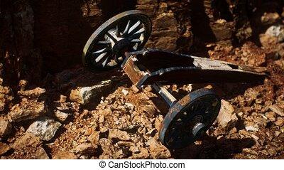 fusil, canyon, ancien, historique, pierre