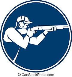fusil chasse, cercle, tir, piège, icône
