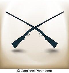 fusil chasse, traversé, pictogramme