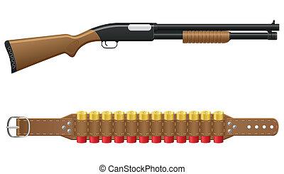 fusil chasse, vecteur, illustration