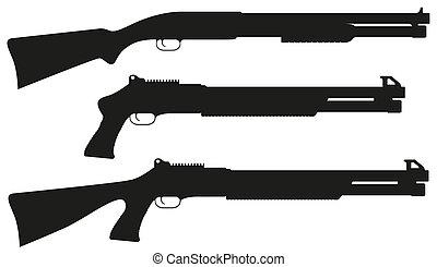 fusil chasse, vecteur, silhouette, noir