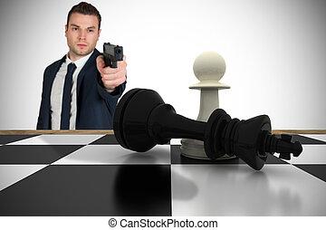 fusil, composite, p, échecs, homme affaires, image, pointage, sérieux