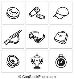 fusil, ensemble, tasse, plaque, balle, lunettes, icons., ...
