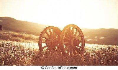 fusil, historique, coucher soleil, guerre, colline