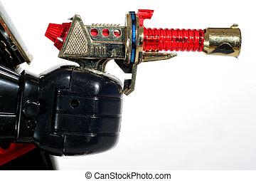 +, fusil jouet, robot, main