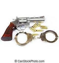 fusil, menottes, isolé, balles, fond, blanc