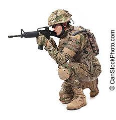 fusil, moderne, soldat