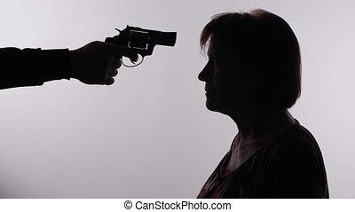 fusil, pointage, femme homme