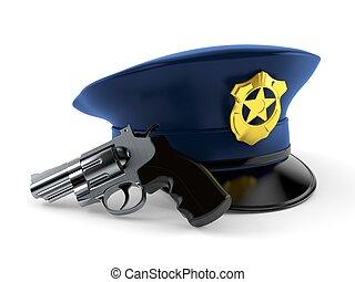 fusil, police, chapeau
