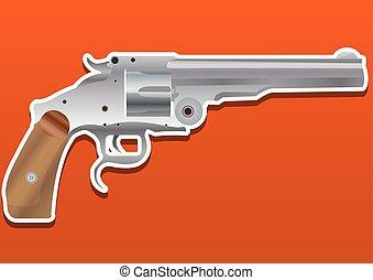 fusil, revolver, illustration, pistolet, pistolet, ou