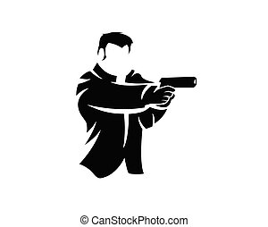 fusil, style, homme, tir, silhouette, illustration, pose