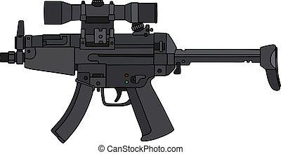 fusil, vue, optique, automatique