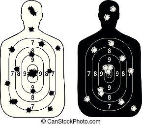 fusillade objectif, trous, balle, gamme, fusil