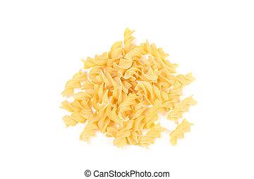 fusilli dry pasta isolated on white background